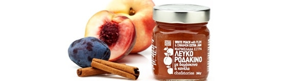 White Peach with plum and cinnamon, Handmade Greek Jam, 240gr.